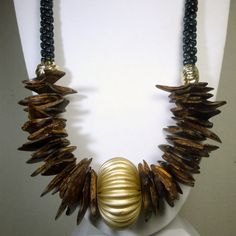 Tribal Black Brown Silver Long Necklace1980s by VintageStarrBeads, $17.99