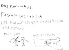 This young one who has a gentle reminder for his father: