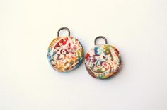 Earring Pair,Ceramic,Round,Colourful. This ceramic rounds  measures  approx. 17  mm…