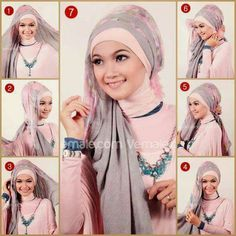 This includes variety of hijab styles and trends for Muslim ladies in distinct patterns. Here you will also see the exact methods How to wear a Perfect Hijab? Muslim Women Fashion, Modest Fashion, Hijab Fashion, New Fashion, Trendy Fashion, Islamic Fashion, Fashion Wear, Versace, Wedding Dress Styles