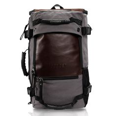 e91a9f5975 ibagbar Canvas Backpack Travel Bag Hiking Bag Camping Bag Rucksack Gray  Large     For