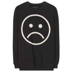 Marc by Marc Jacobs Sad Face Cotton Sweatshirt (250 CAD) ❤ liked on Polyvore featuring tops, hoodies, sweatshirts, sweaters, shirts, black, black shirt, black cotton shirt, shirts & tops and sweat tops