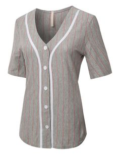 VOM Womens Oversized Button Down Short Sleeve Baseball Tunic Shirt