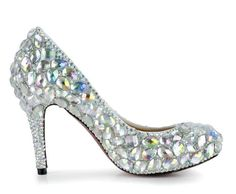 HONEYSTORE WOMEN'S MULTICOLOR GLASS RHINESTONE BRIDAL PUMPS SILVER 8 B(M) US- Click image twice for more info - See a larger selection of bridal shoes at   http://zweddingsupply.com/product-category/bridal-shoes/ - woman , wedding , wedding fashion, wedding style, wedding ideas, woman fashion, shoes.