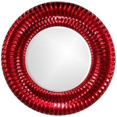 "Sao Paulo Ribbed Metallic red 46"" Round Wall Mirror http://www.lampsplus.com/products/sao-paulo-ribbed-metallic-red-46-inch-round-wall-mirror__r2196.html#"
