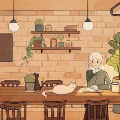 Anime Scenery Wallpaper, Cartoon Wallpaper, Aesthetic Art, Aesthetic Anime, Korean Art, Kawaii Art, Pretty Art, Cat Art, Cute Wallpapers