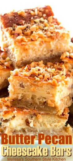 Butter pecan cookies and cheesecake collide in these rich caramel Butter Pecan Cheesecake Bars. Easy Desserts, Delicious Desserts, Yummy Food, Cook Desserts, Snack Recipes, Dessert Recipes, Cooking Recipes, Pecan Recipes, Cheesecake Bars