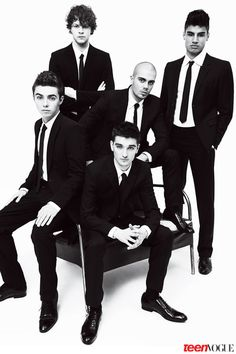 The Wanted: Jay, Max, Siva, Tom, and Nathan wearing Emporio #Armani suits.