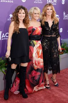 Singers Shania Twain, Carrie Underwood and Faith Hill posed together on the red carpet at the 48th Annual Academy of Country Music Awards at the MGM Grand Garden Arena in Las Vegas on April 7.
