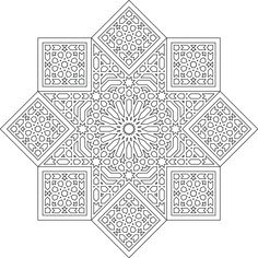 ILUSTRATOR ARABESQUE Islamic Art Pattern, Pattern Art, Print Patterns, Mandala Coloring Pages, Colouring Pages, Coloring Books, Quilting Stencils, Free Stencils, Arabesque