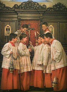 I thought this was a Norman Rockwell painting but then realized Rockwell didn't live when Benedict XVI was pope (pope pic in b...