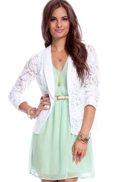 mint dress + lace blazer, love this outfit