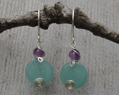 Stone Silver Earrings - Green Aventurine and Amethyst Spiral Swirl. $15.50, via Etsy.