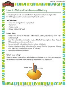 How to Make a Fruit-Powered Battery - Sixth Grade Science Activity