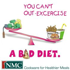 You can't out-excercise a bad diet. from NMC Cookware Excercise, Cookware, Pots, Healthy Recipes, Diet, Meals, Canning, Cooking Utensils, Ejercicio