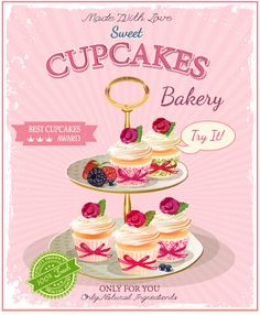 dvertising poster cupcakes vector 02
