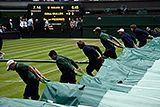 The covers are pulled across Centre Court
