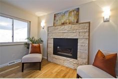 Fireplace, Attractive Transitional Dining Room With Modern Fireplace Facelift With Beige Stones Fire Surround Also Light Gray Wall Paint Col...
