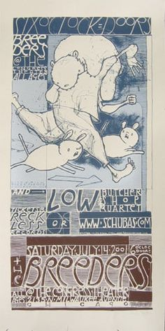 Breeders   Low   Butcher Shop Quartet     The Congress Theater   7/14/2001   Artist: Jay Ryan   AoMR 127.1   silkscreen   Edition of 360   12 x 24 inches