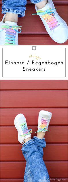 DIY Regenbogen-/Einhorn-Schuhe, weiße Sneakers, Sommer-Trend Fashion