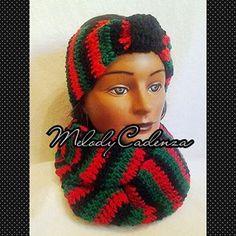 Women's Cherry Red/Green/Black Striped Infinity Scarf Set w/Striped Headband www.melodycadenzaclothing.com #Crochet #Handmade #Beanie