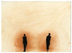 Antony Gormley THE TWO OF US, 1987 Earth, rabbit skin glue and black pigment on paper 28 x 38 cm Abstract Sculpture, Sculpture Art, Metal Sculptures, Bronze Sculpture, Antony Gormley Sculptures, Installation Art, Art Installations, Light Painting, Painting Metal