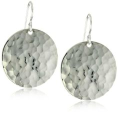 Lotus Jewelry Studio Sterling Silver Hammered Disc Earrings Lotus Jewelry Studio. $59.00. These classic earrings are a great accessory to any outfit. Sterling silver discs hang from a traditional earring hook. Disc measures 1-inch across and earrings are 1.375-inches in length from top of ear wire. Made in USA. These earrings have a soft pounded finish for a fun shimmering surface