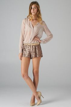 Sequined Bottom and Sheer Top Romper