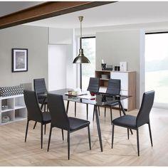 HOME Ensemble Table Manger 6 Personnes 160x90 Cm Chaises En Simili