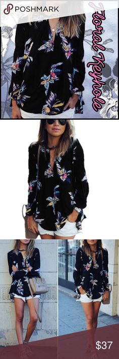 Floral Keyhole (sz M-2X) Floral chiffon Keyhole Tunic; sizes available: M to XXL; polyester chiffon is semi-sheer; roomy fit; button at neck Keyhole; Boutique Tops