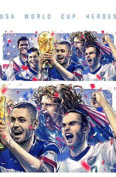USA World Cup Heroes: Lalas, Donovan and Dempsey, by Miguel Membreño
