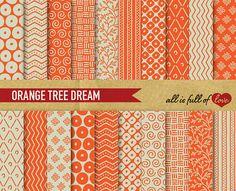Digital Paper Pack ORANGE TREE DREAM by AllFullOfLove on Etsy, $3.50