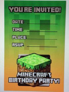 "Minecraft Invitation, 12 pcs 4x6"" matte photo prints, $10"