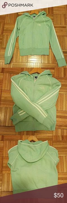 Gently used! North Face Light Green Zip Hoodie Worn twice! North Face Women's Light Green Zip Hoodia Jacket - feel free to make me an offer through the offer button. North Face Jackets & Coats