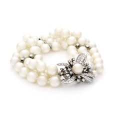 Estate Triple Strand Pearl Bracelet with Diamond Clasp