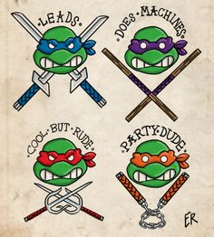 Leonardo leads Donatello dose machines    Raphael is cool but rude mikey is the party dude