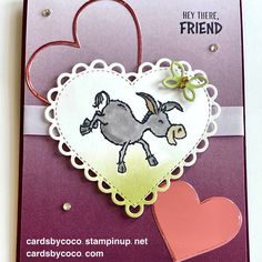 Valentines, oh so ombre, darling donkeys, stampin up, cardmaker, handmade, blackberry bliss, many hearts dies, handmade card, die cutting, hearts Handmade Thank You Cards, Handmade Stamps, Donkey Images, The Donkey, Paper Crafts, Diy Crafts, Coordinating Colors, My Stamp, Small Gifts