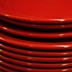 Red Stacked Plates by Jeniee - Jeniee Greene