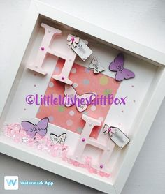 New Baby birth / child initial box frame, perfect for a Nursery or gift to celebrate the birth of a new baby! This listing is for twins but please see my other listing for baby boy or girl. Add all birth details or just a name. Can be made in any colours & for boys or girls. Any of our frames can be changed to suit your own requirements. They can be made in either a black or white box frame, & the decoration can be made in any colours. If you cant see what youre looking for, plea...