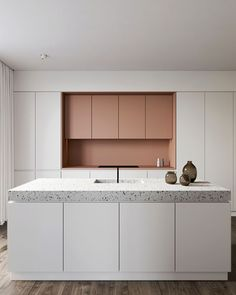 Cuisine Eclectic Kitchen With Pink Cabinets And Terrazzo Countertop Designed  By Amr Moussa