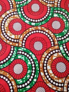 Tissu wax  par 50 centimètres  motifs géométriques rouges et | Etsy