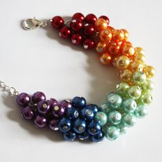 Rainbow Bracelet Pearls Cluster Bracelet by DaisyBeadzJoaillerie