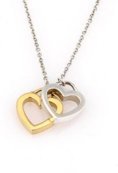 Tiffany Sterling Silver And Yellow Gold Double Heart Pendant Necklace