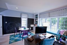 We just completed this amazing Kids Suite that is a mix of study and play.   #office design, #study interiors. Philadelphia Interior Designer   http://down2earthinteriordesign.com/portfolio_page/home-offices/