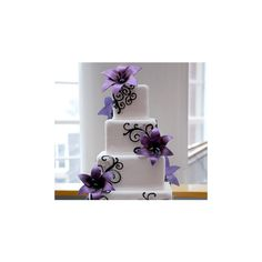 Wedding, Flowers, Reception, Cake, Purple, Blue found on Polyvore