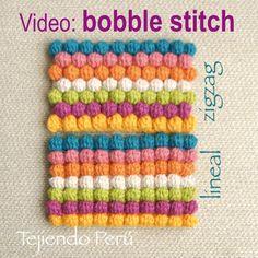 Crochet bobble stitch (puff stitch) tejido en forma lineal y en zigzag!  Video tutorial
