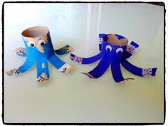 pieuvre en rouleaux de papier toilette, océan, mer, animaux aquatique, bricolage enfant