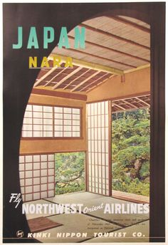 Japan Nara  - Northwest Airlines original vintage  travel poster c.1960  picclick.com