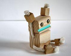 Hooray! Handmade Block Bot wooden toy by WilsonArtFactoy Detroit Michigan.