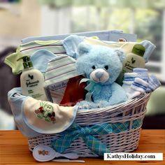 Deluxe Organic New Baby Gift Basket Blue.  www.kathysholiday.com